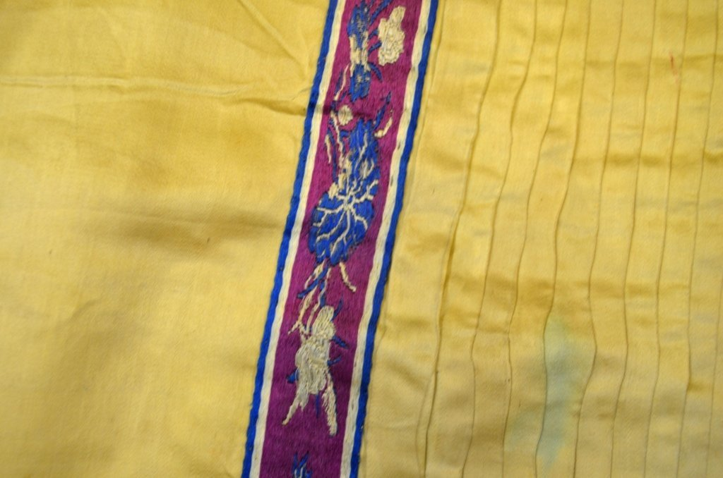 Chinese Light Yellow Silk Embroidered Skirt - 4
