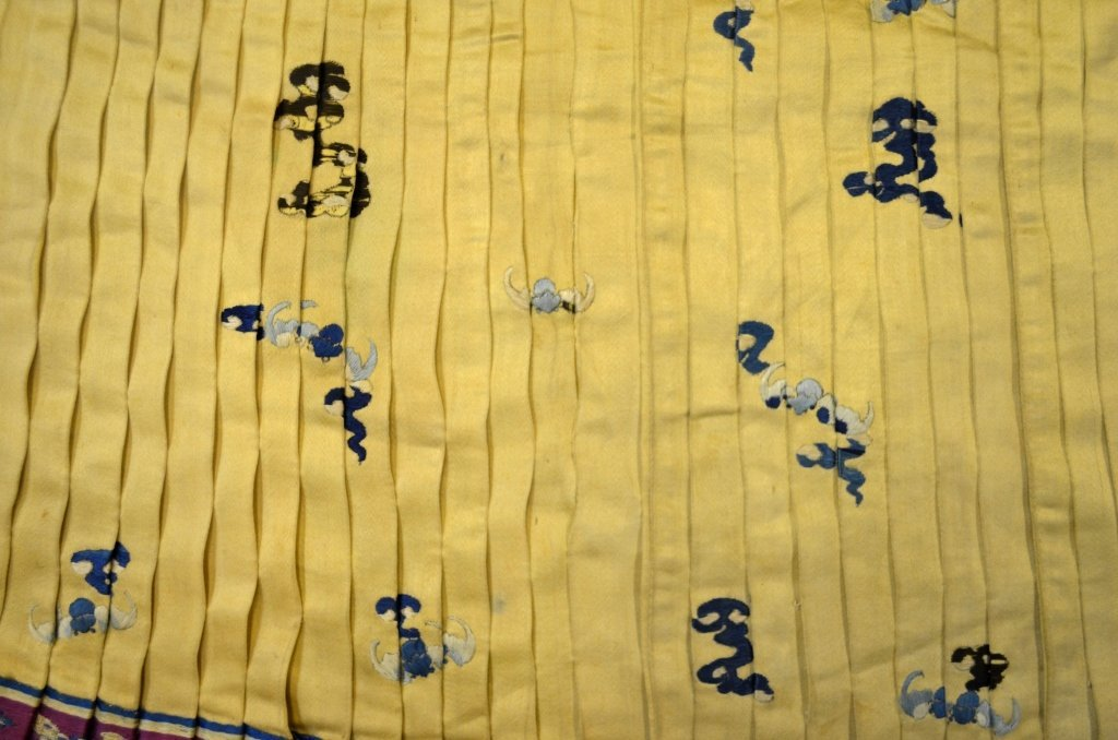 Chinese Light Yellow Silk Embroidered Skirt - 5