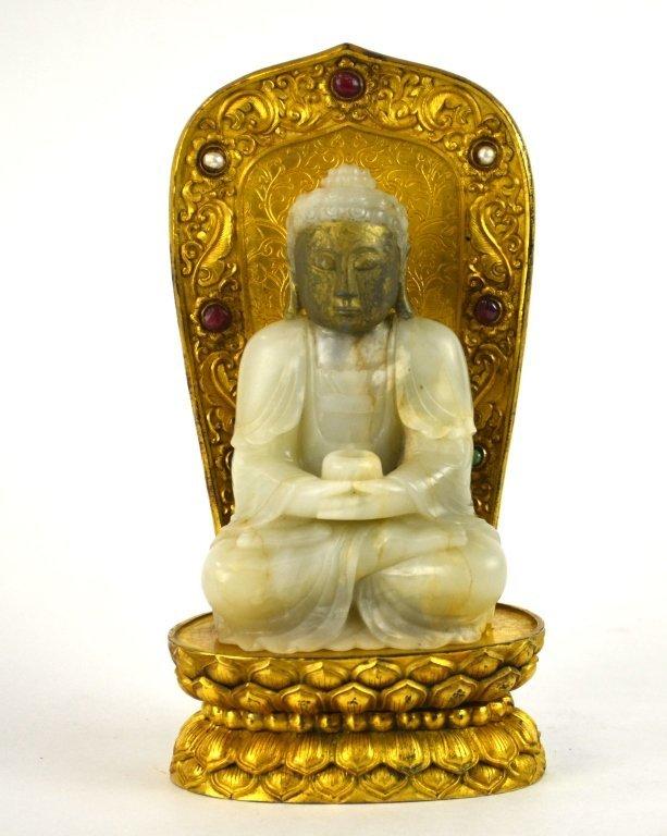 Fine Chinese Jade Buddha with Gilt Bronze Base