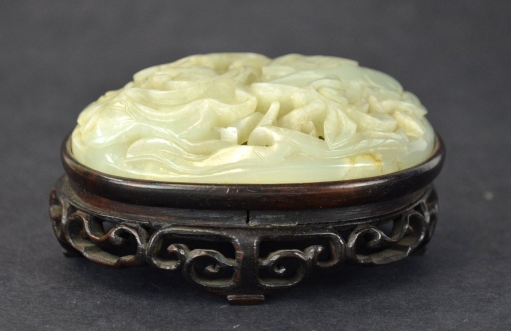 Chinese Carved Jade on Wood Stand
