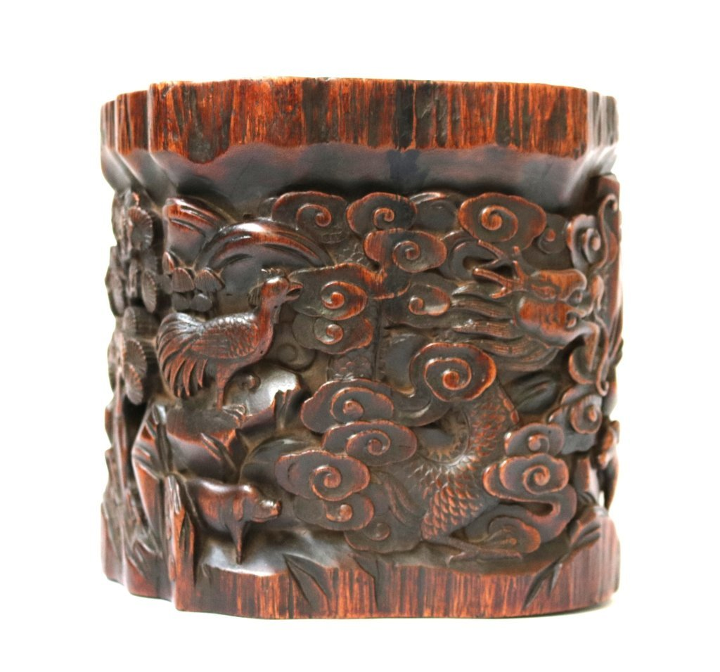 Fine Carved Chinese Wood Brush Pot