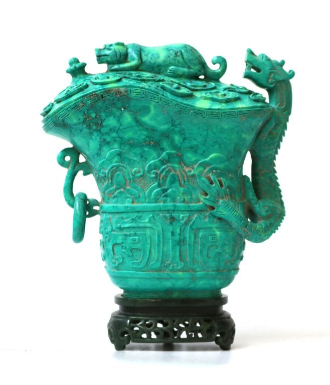 Chinese Carved Covered Turquoise Cup w/Stand