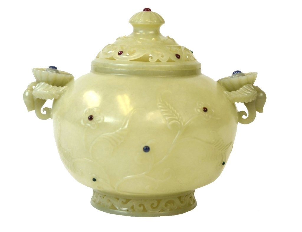Fine Carved Chinese Mughai Jade Censer & Cover