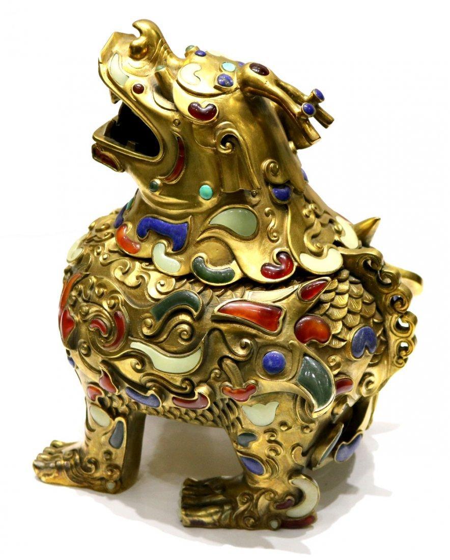 Chinese Gilt Bronze Buddha Foo Dog Censer w/ Gemstone