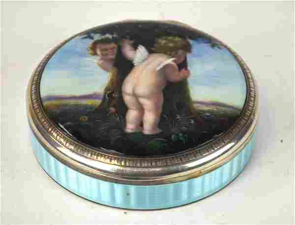 French Silver Enamel Round Covered Box