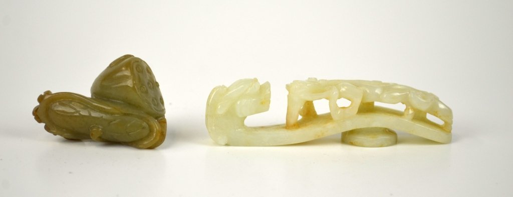 Two Jade Carvings of Buckle & Toggle