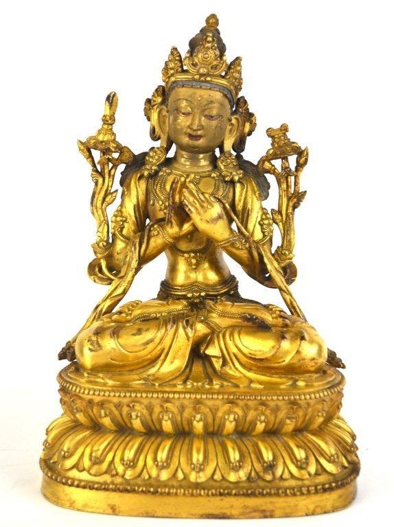 Elegant Chinese Gilded Bronze Buddha Figure