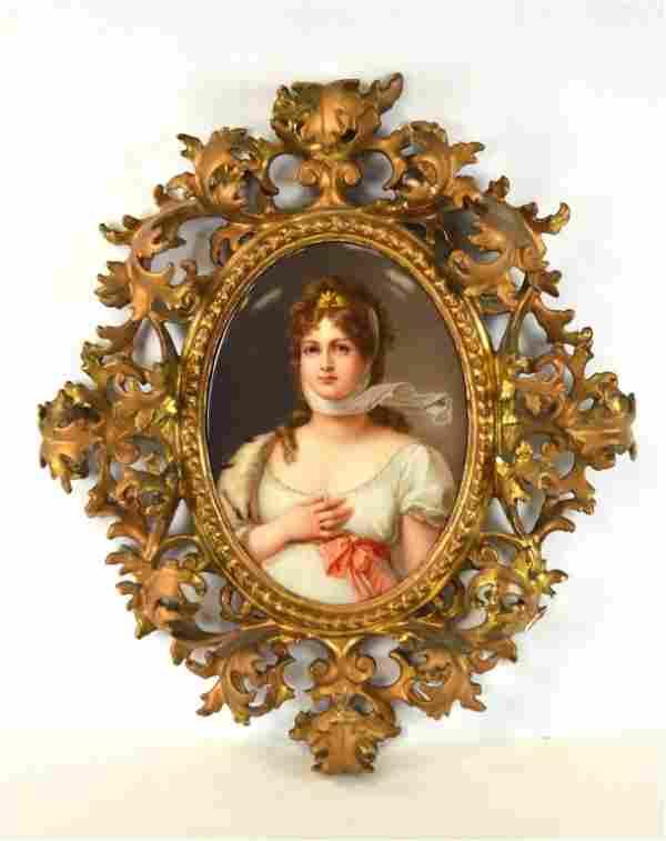 KPM Wood Framed Oval Porcelain Plaque/Queen Louisa