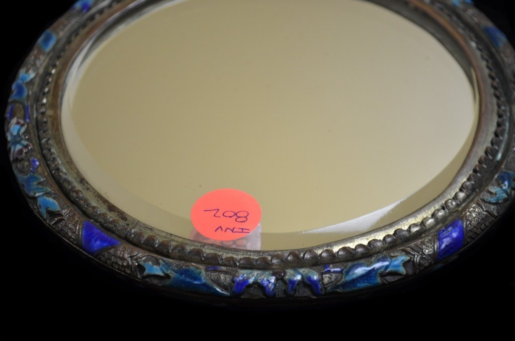 Chinese Antique Enameled Hand Mirror - 6