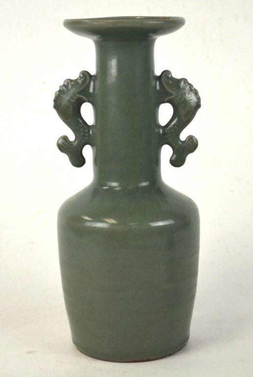 Chinese Celadon Vase w Dragon Fish Handles