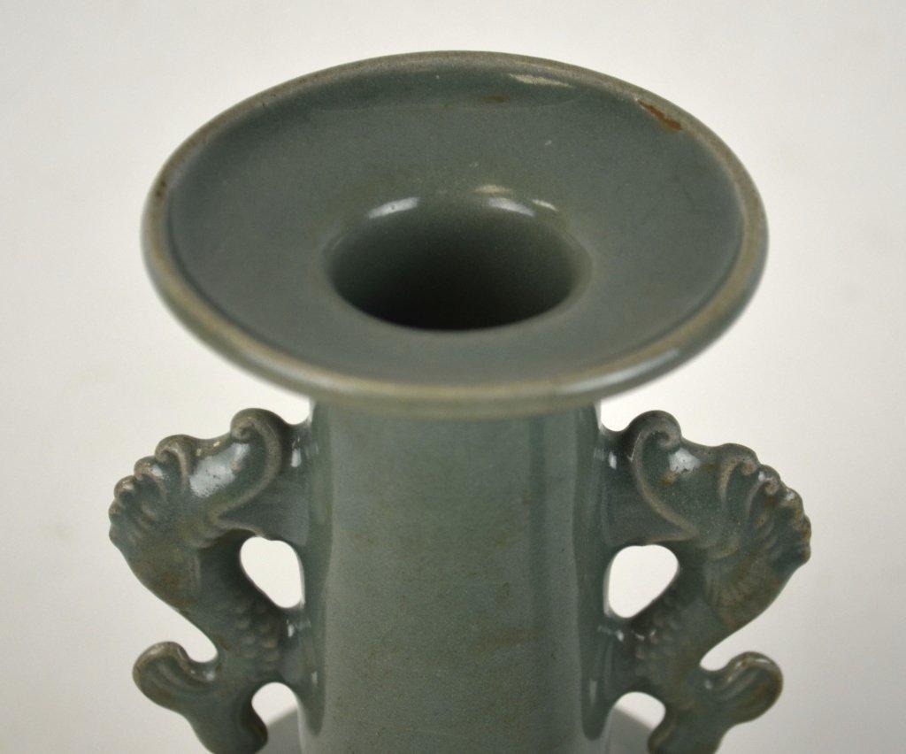 Chinese Celadon Vase w Dragon Fish Handles - 2