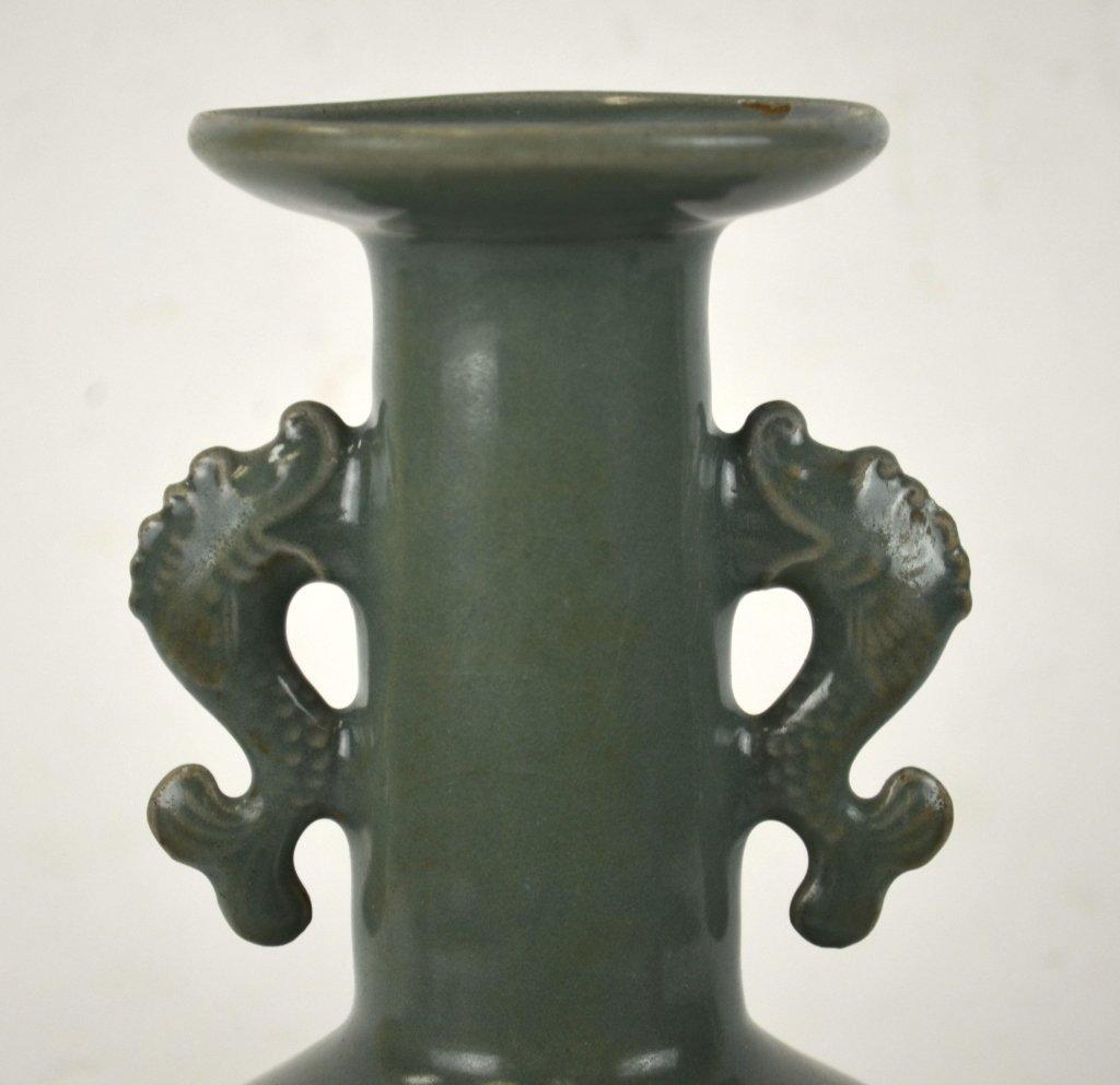 Chinese Celadon Vase w Dragon Fish Handles - 3