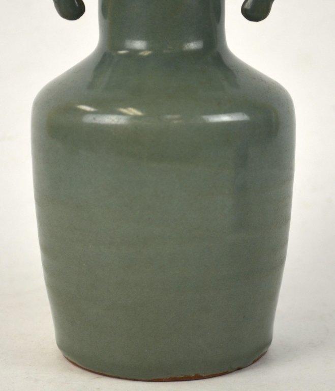 Chinese Celadon Vase w Dragon Fish Handles - 4