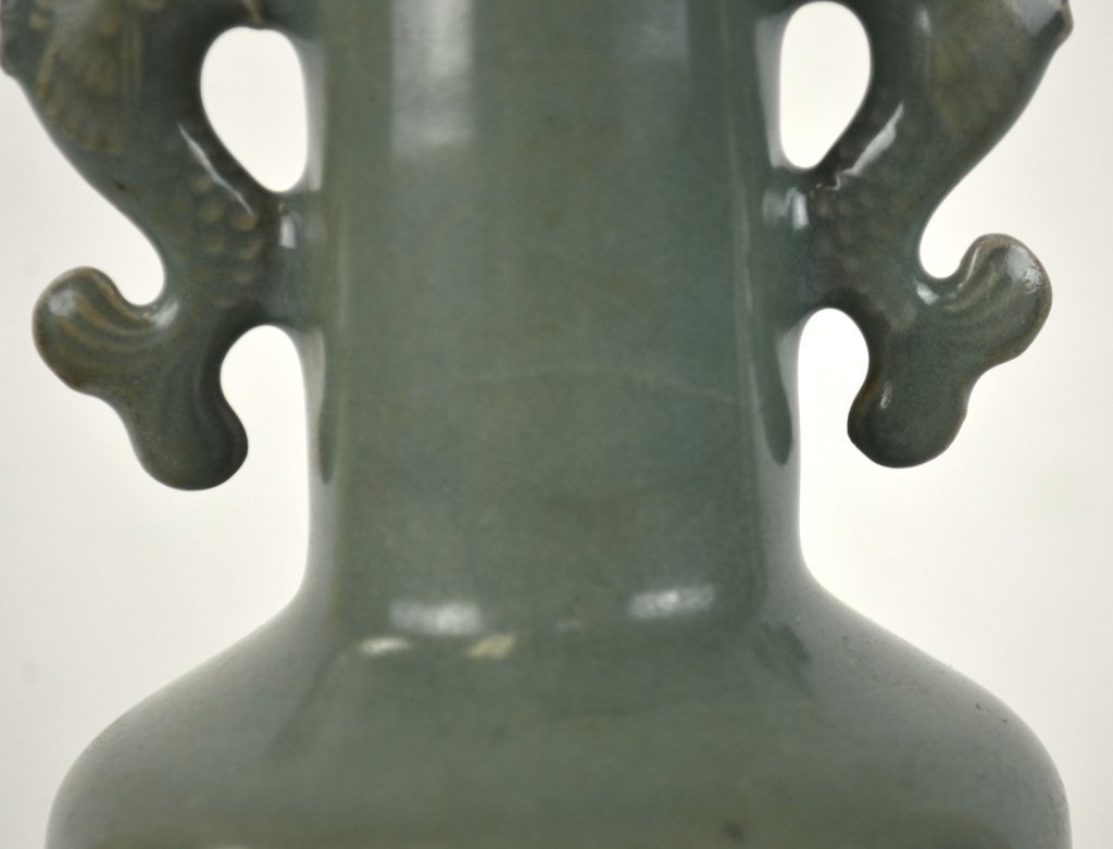 Chinese Celadon Vase w Dragon Fish Handles - 5
