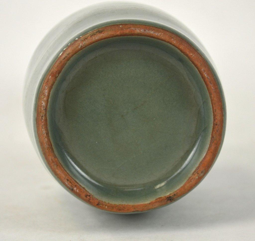 Chinese Celadon Vase w Dragon Fish Handles - 7