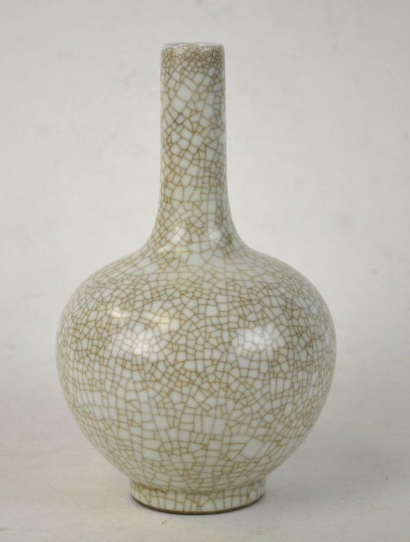 Chinese Celadon Crackle Bottle Vase