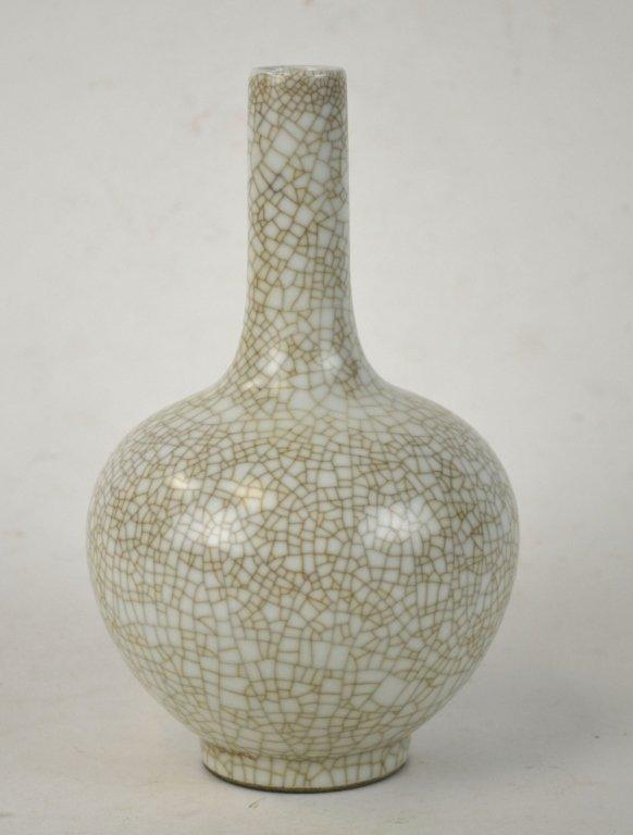 Chinese Celadon Crackle Bottle Vase