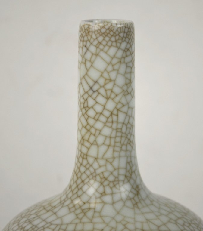 Chinese Celadon Crackle Bottle Vase - 3