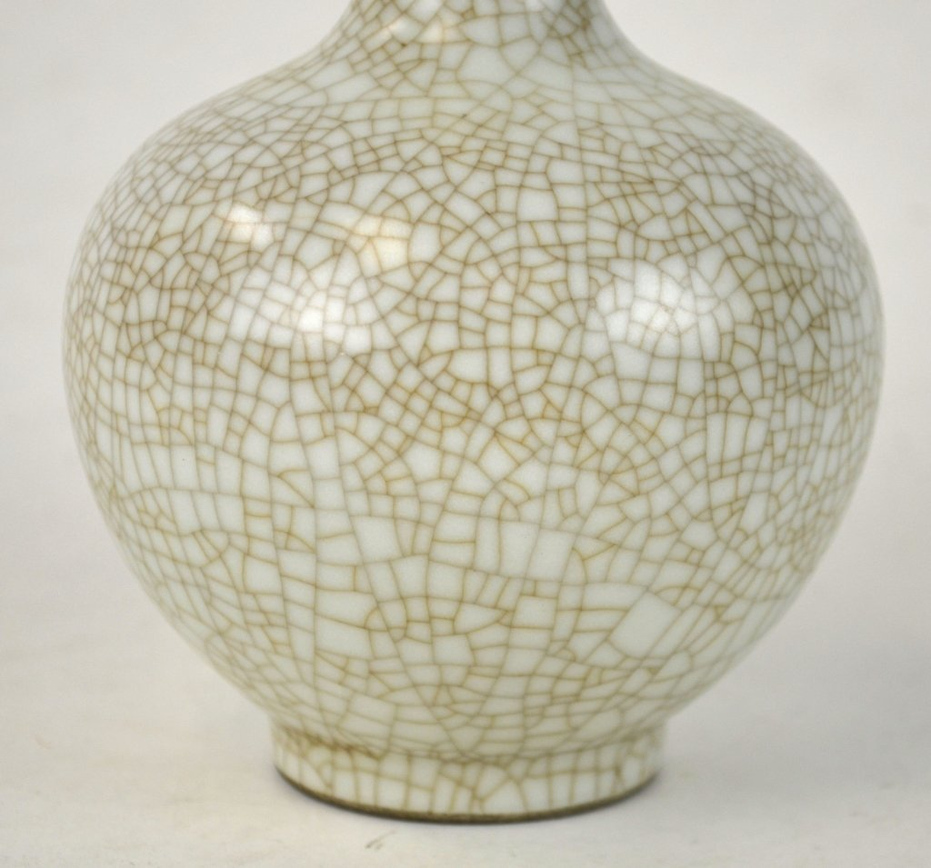 Chinese Celadon Crackle Bottle Vase - 4