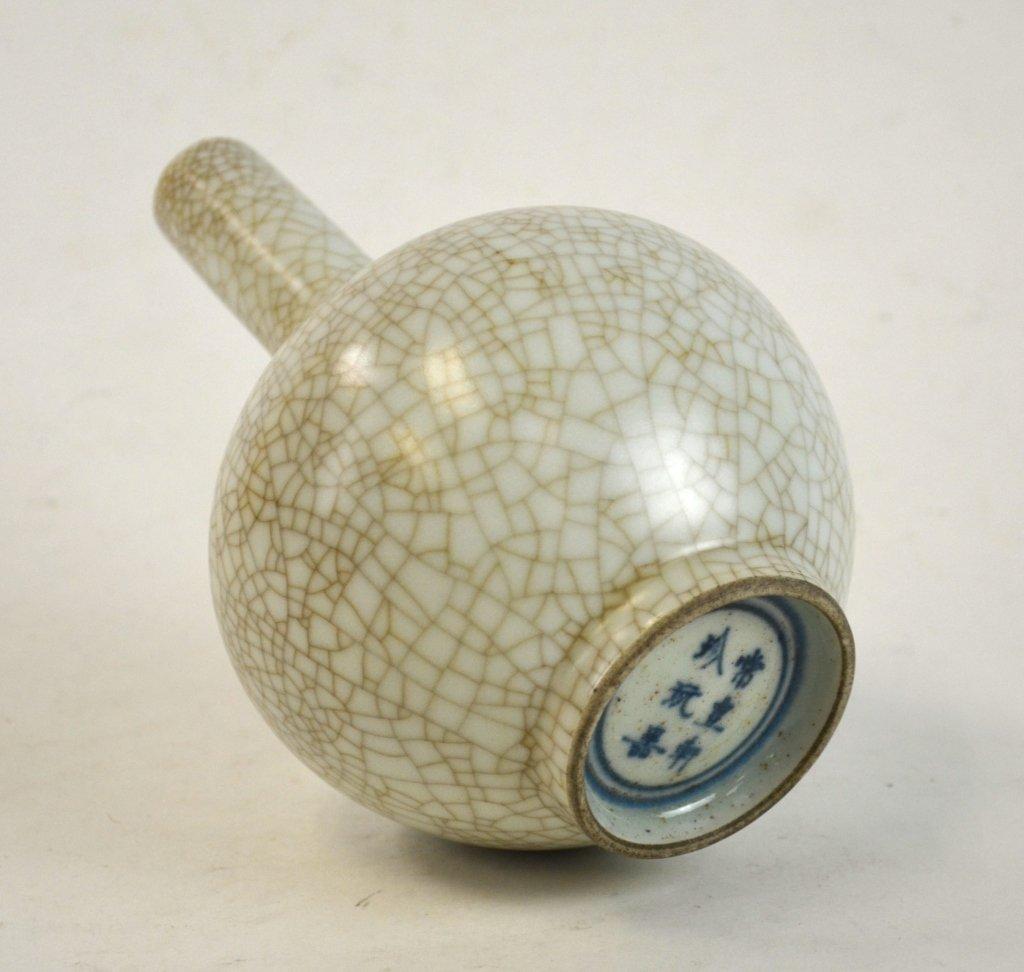 Chinese Celadon Crackle Bottle Vase - 6