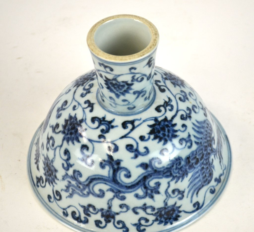 Chinese Blue & White Stem Cup - 4