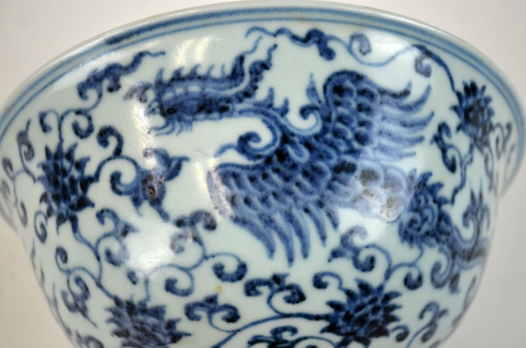Chinese Blue & White Stem Cup - 5