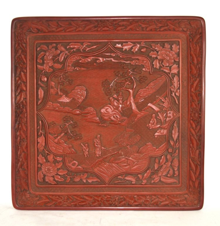 Chinese Carved Square Cinnabar Tray