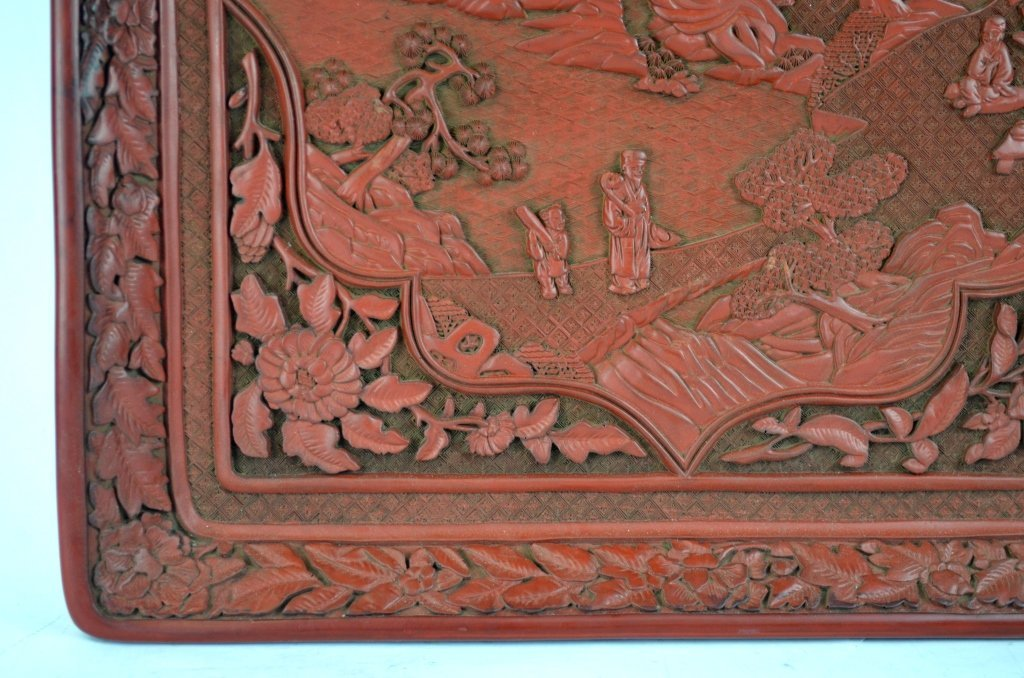 Chinese Carved Square Cinnabar Tray - 3