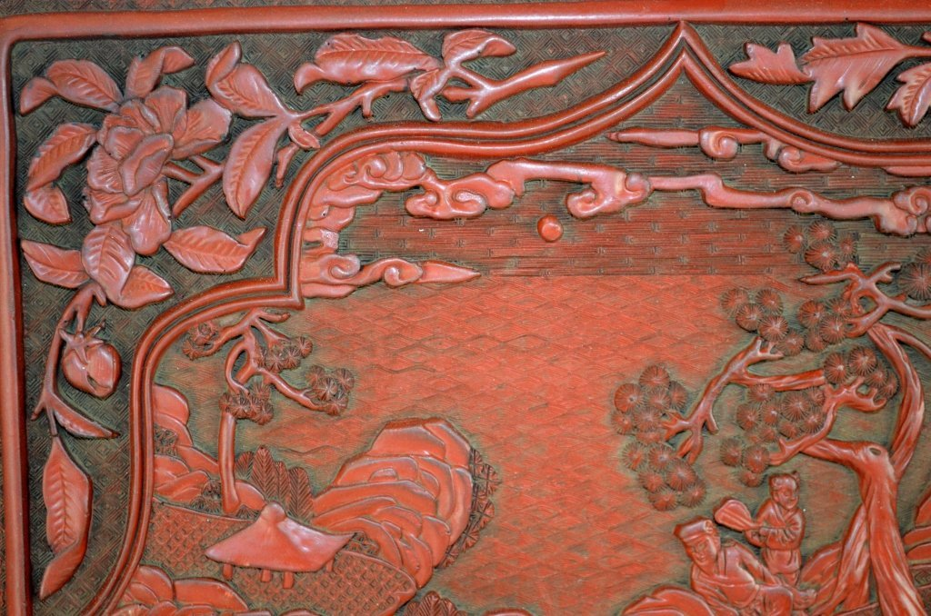 Chinese Carved Square Cinnabar Tray - 4