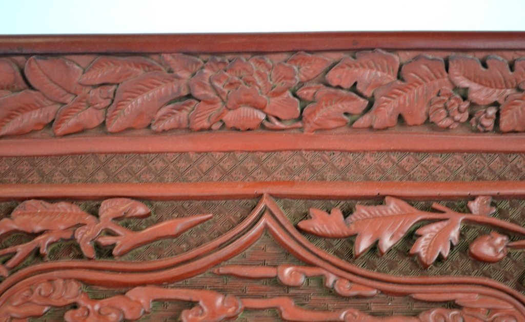 Chinese Carved Square Cinnabar Tray - 6
