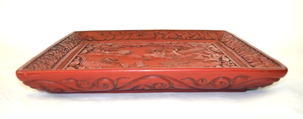 Chinese Carved Square Cinnabar Tray - 7