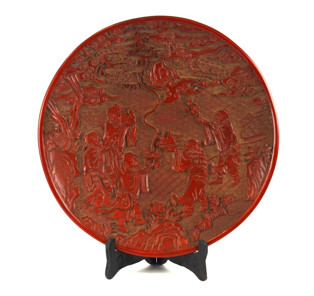 Chinese Carved Round Cinnabar Plate
