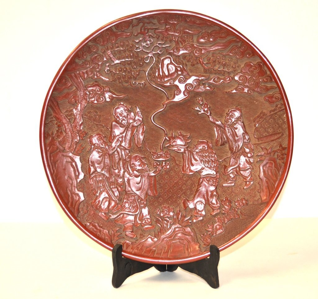 Chinese Carved Round Cinnabar Plate - 4