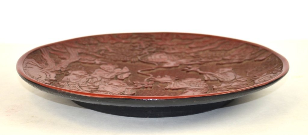 Chinese Carved Round Cinnabar Plate - 6