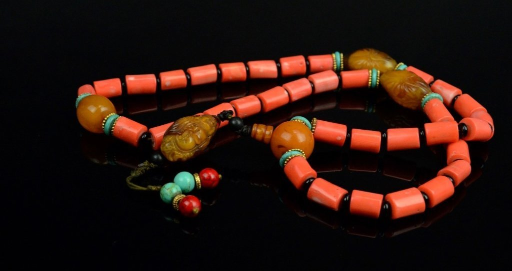 Chinese-Tibetan Coral Necklace with Amber