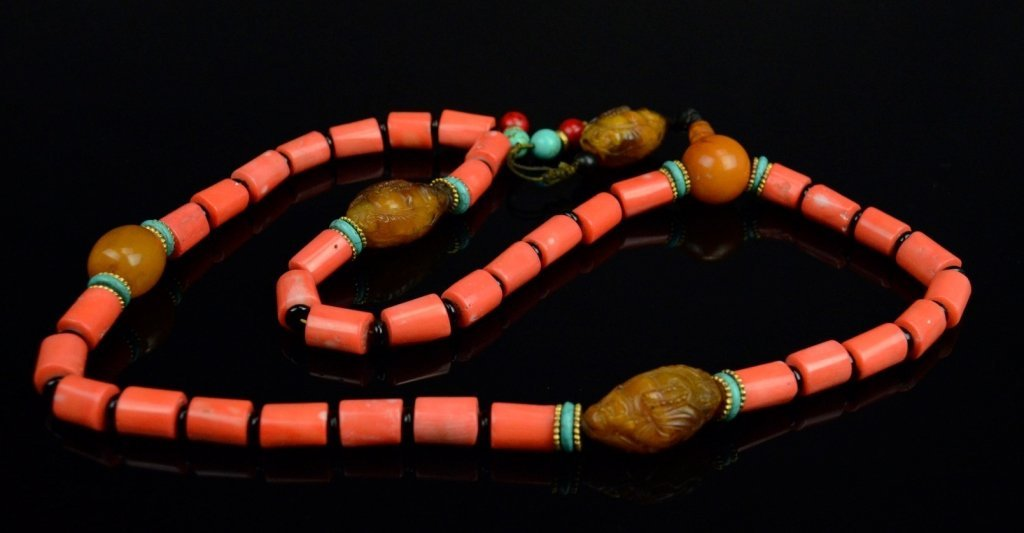 Chinese-Tibetan Coral Necklace with Amber - 2