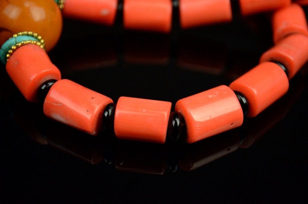 Chinese-Tibetan Coral Necklace with Amber - 3