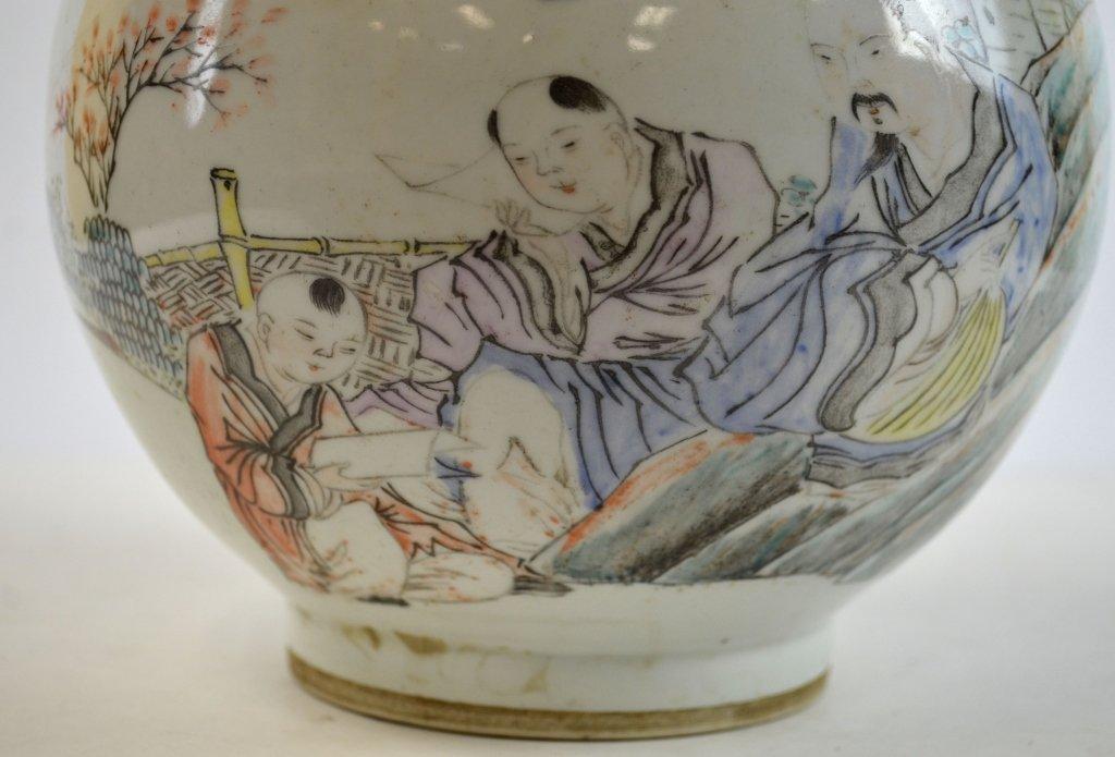 Pair Chinese Famille Rose Bottle Vases - 10