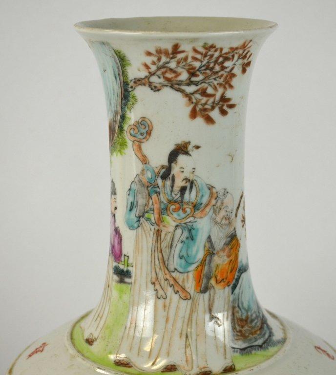 Pair Chinese Famille Rose Bottle Vases - 2