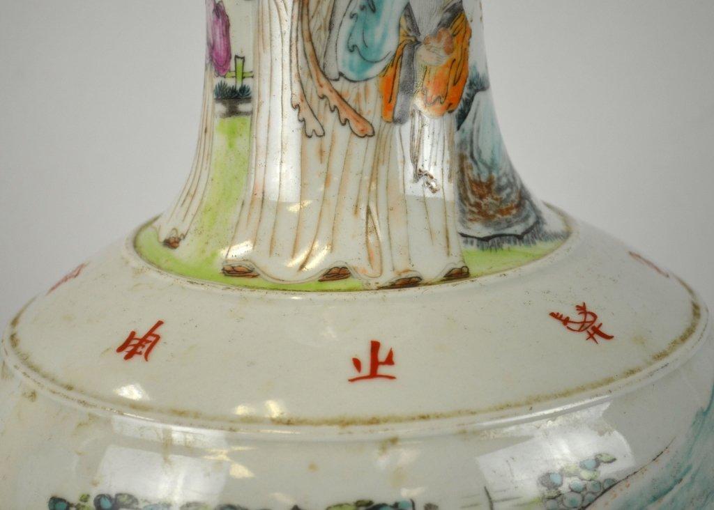 Pair Chinese Famille Rose Bottle Vases - 3