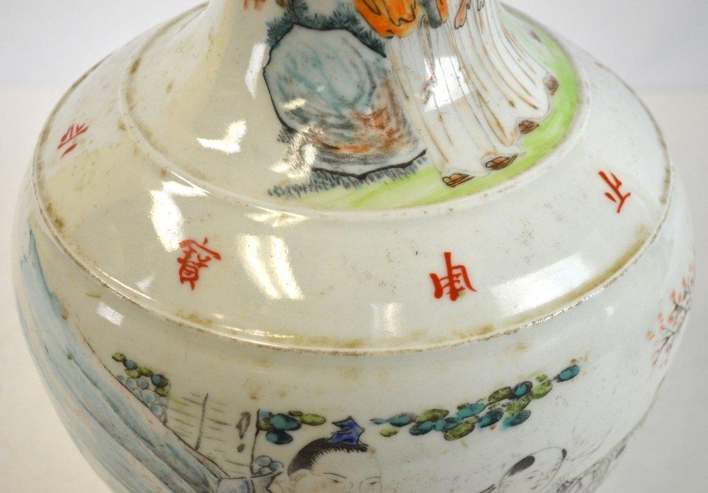 Pair Chinese Famille Rose Bottle Vases - 9