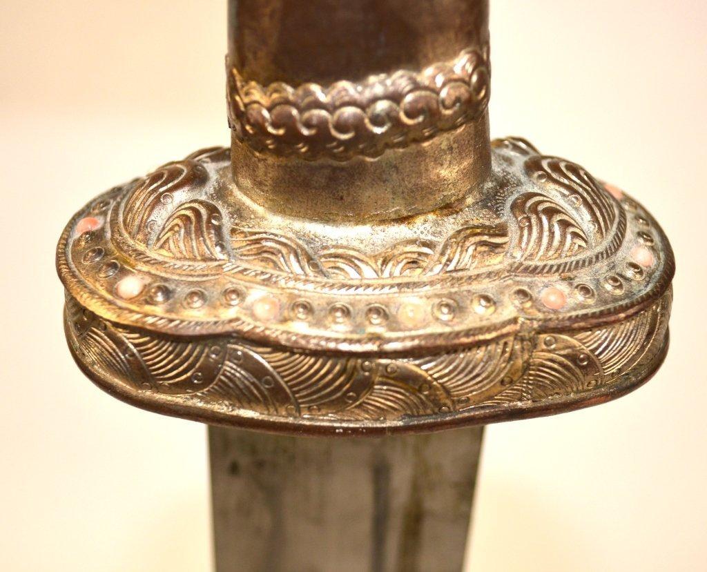 Massive Chinese Silver Dagger - 7