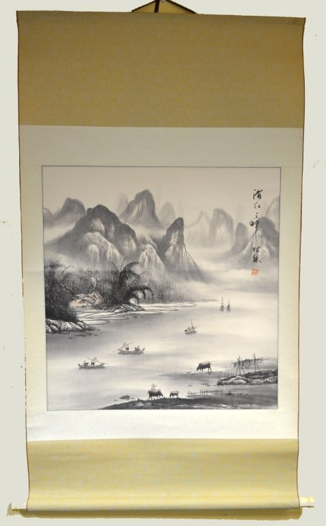 Chinese Watercolor Painting on Scroll