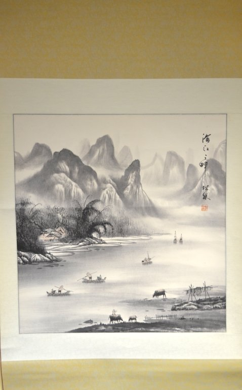 Chinese Watercolor Painting on Scroll - 2