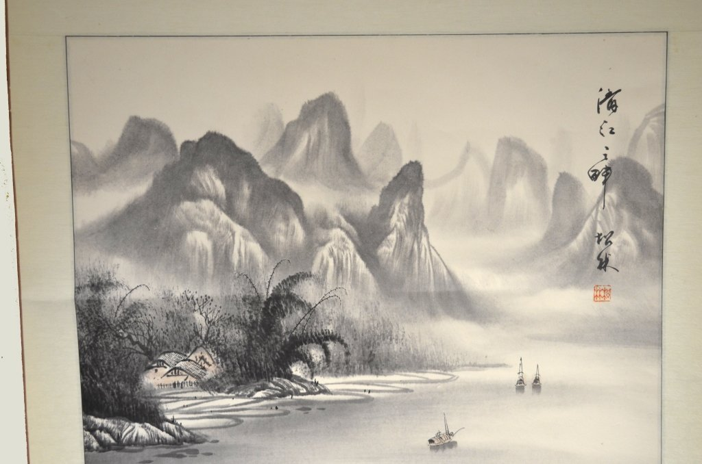 Chinese Watercolor Painting on Scroll - 3