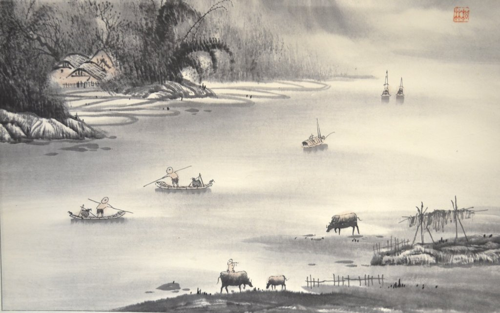 Chinese Watercolor Painting on Scroll - 4