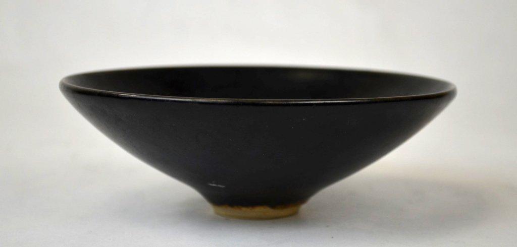 Chinese Black-Glazed Ceramic Flaring Leaf Bowl