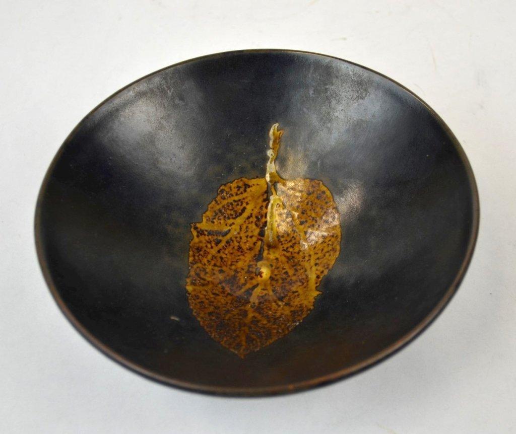 Chinese Black-Glazed Ceramic Flaring Leaf Bowl - 5