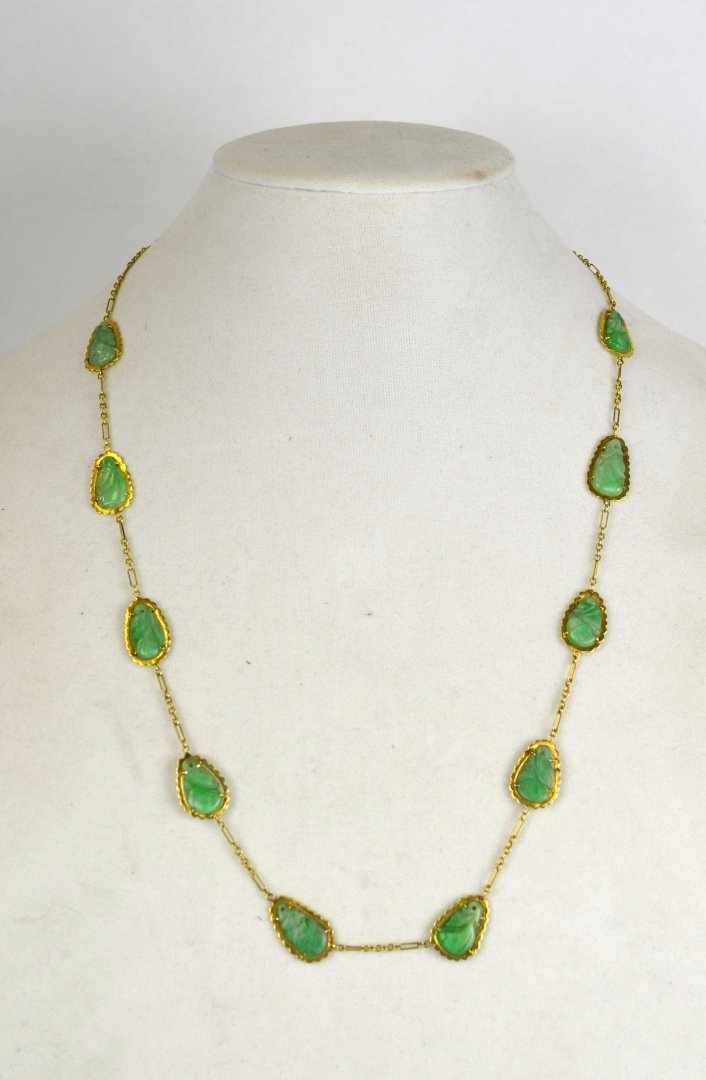 14K Gold Chinese Necklace with Jadeite