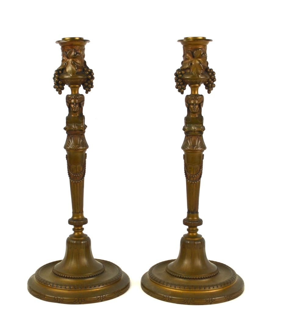 Pr Bronze French F. Barbedienne Candle Holders